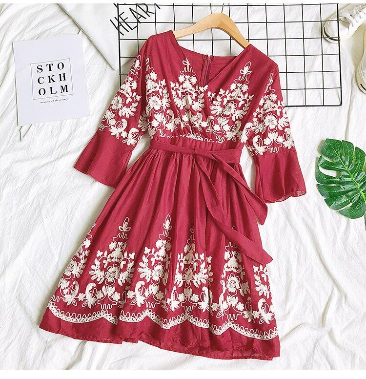 2019 Spring Summer V-neck Embroidery Dress Flare Sleeves Bohemian Dress Belted Ethnic Loose Vintage Dress 52