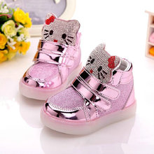 Luminous Children Shoes 2016 New Spring Hello Kitty Rhinestone Led Shoes Girls Princess Cute Shoes With Light EU 21-30