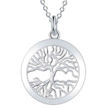 11.11  Deal silver chic pendant necklace Fashion Tree of life God mother Religion collares populares 18inch jewelry 925