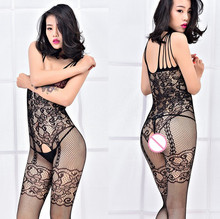 Buy Sexy Plus Size Lingerie 3XXXL Body Stocking Large Big Size Open Crotch Open Bust Catsuit Mesh Teddies Sexy Costumes Women