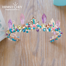 HIMSTORYNew Design Luxury Baroque Purple Crystal Bridal Pageant Tiara Wedding Hair Accessory Princess Queen Prom Hairwear