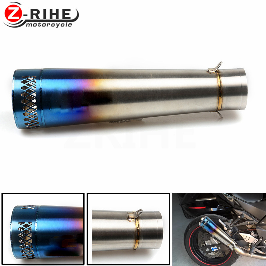 Universal Motorcycle Reupholstery Exhaust Pipe With entrance fiber tube For Kawasaki z900 z800 z750 z1000 er-6f zx9r