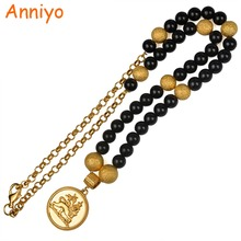 Anniyo Ethiopian Black Beads Necklaces With African Lion Jewelry Gold Color Pendant for Women's #077106(China)
