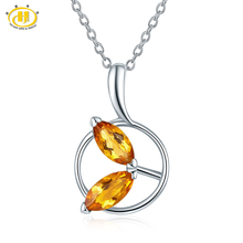 Hutang Genuine Citrine Leaf Pendant S925 Sterling Silver Gemstone Pendants & Necklaces for Women Christmas Gift Fine Jewelry(China)