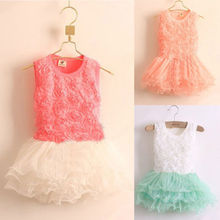 Kids Girls Princess Party Rose Flower Lace Ruffled Layered Tutu Dress 2-7Y