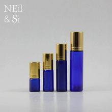 3/5/7/10 ml Blue Cosmetic Perfume Roll on Glass Bottles Empty Refillable Makeup Essential Oil Roller Container Gold Cap(China)