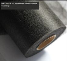 112cm*5M Nonwoven adhesive interlining Double sided fusible fabric Black iron on batting entretela para costura(China)