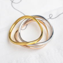 Italina 2015 New 3 Ring 3-color Matte Wave Wedding Rings For Women Fine Jewelry(China)