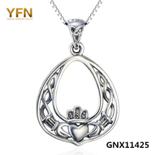 GNX11425 Genuine 925 Sterling Silver Claddagh Pendant Necklace Fashion Jewelry Antique Silver Heart Necklace For Women(China)