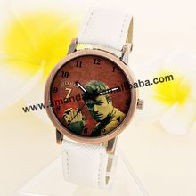 100pcs/lot Bruce Lee Jean Fabric Leather Watch Brown Dial Retro Bronze Color Watches Fashion Woman Man Wrap Casual Wristwatch(China)
