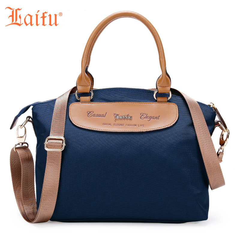 Laifu Vintage Fashion Women Handbag Tote Large Capacity Nylon Waterproof Shoulder Bag Crossbody Bag, Blue Black<br>