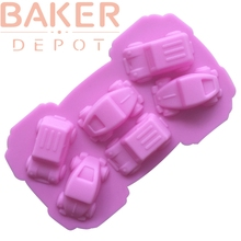 BAKER DEPOT 6 Cavity Silicone Mold For Chocolate Jelly Pudding Handmade Soap Mold Cake Decorating Tool Car Design CDSM-580