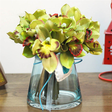 7 flower heads/pcs Multicolor artificial orchid decoration flower Cymbidium silk flowers for home party decoration Free shipping(China)