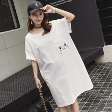 Missoov moda feminina casual brand designer Women summer o-neck dresses preppy style cats dress cotton vestidos losse white new(China)
