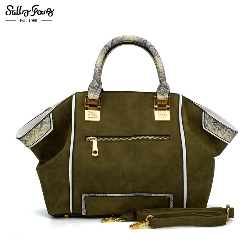 2017 Sally Young Internation Brand Trapeze Women Patchwork Fashion Bag Snakeskin Pattern Lady Shoulder Handbags 5 Color SY2129<br>