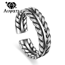Thailand Silver Jewelry Rings Vintage Chain Rope Design 925 Silver Ring for Women