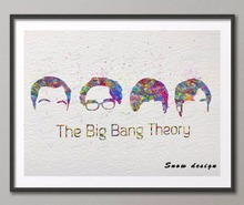 Original Watercolor The Big Bang Theory canvas painting wall art poster print Pictures Home Decor wall hanging Christmas gifts
