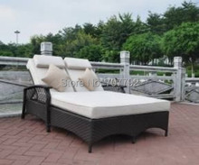 2017 New Product Outdoor Furniture wicker lazy lounger rattan sun bed(China)