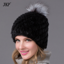 Hot Genuine Mink Fur Hat Cap Nature Knit Mink Fur Hat Fashion Women Winter Headgear  BZ-05