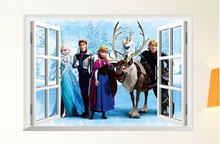2015 Elsa 3D Window snow Wall Sticker Cartoon Mural Viny Art Decal Home Decor