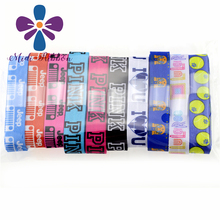 "5/8"" 16mm PINK LulaRoe Sport Single Faced Printed Fold Over Elastic foe 50 Yards/Roll for Hair Tie Pontail Holder Headband"