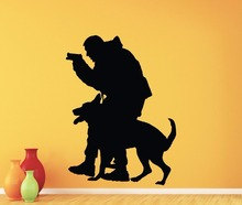 Police Officer K-9 K9 Dog Wall Decal Policeman Vinyl Sticker Home Interior Kids Room Nursery Decor Removable Mural(China)