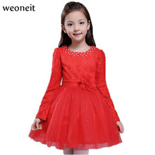 Weoneit New Autumn Princess Girls Party Dresses for Christmas Red White Tulle Girls Long Sleeve Wedding Dress Kids Girl Dress