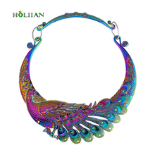 European Big Brand Ethnic Colorful Dragon Ball Phoenix Lucky collar big statement maxi necklace&pendants femme new Hyperbole(China)