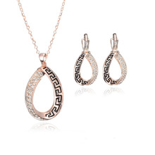 2017 Newest Trend Ornaments Anniversary Gifts Rose Gold Color Necklace Earrings Rhinestone Black Paint Jewelry Sets(China)