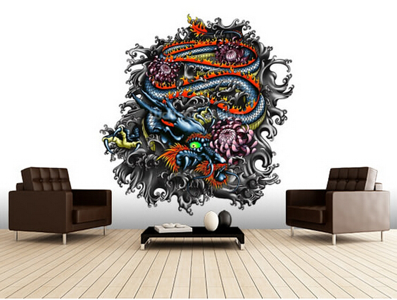 Custom wallpaper for walls 3 d, Japanese Dragon for the sitting room the bedroom TV setting wall PVC papel de parede <br>