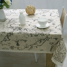 New Arrival Table Cloth World Map High Quality Lace Tableclothes Decorative Elegant Table Cover Linen Tablecloth nappe de table