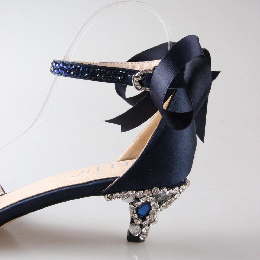 Blue satin low heels