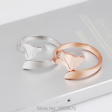 New fashion High quality Silver and Rose Gold Adjustable Cute Animal Fox Rings for Women  Wedding Jewelry Antiallergic