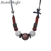 Match-Right Women Necklace Statement Necklaces & Pendants Wood Beads Necklace For Women Jewelry YJZ-138(China)
