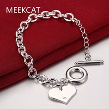 Fashion Smooth Love Heart Tag Charm Bracelet for Women 925 stamped silver plated Bracelets Female Hand Chain Wristband pulseira(China)