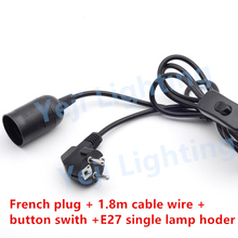 VDE CE French Plug EU French power cord France power cable Europe pin wire pipe head plug with button switch E27 socket
