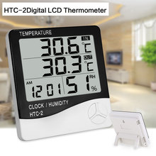 HTC-2Digital LCD Thermometer Hygrometer Electronic Temperature Humidity Meter Weather Station Indoor Outdoor Tester Alarm Clock