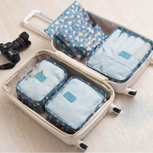 6Pcs/Set Travel Storage Bags Shoes Clothes Toiletry Organizer Luggage Sets Pouch Kits Organizador Zip Lock Travel Pouch