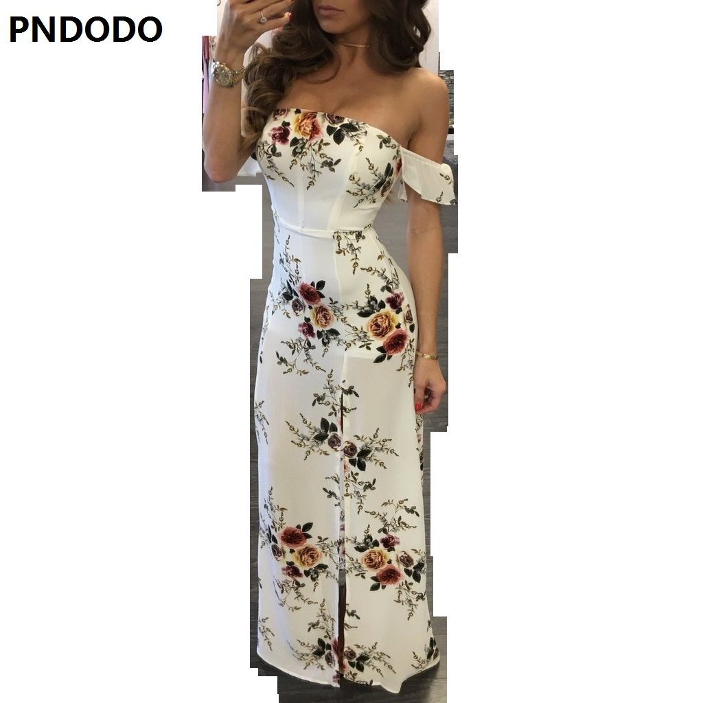 Style Boho Beach Long Dress Women Off Shoulder Summer Dresses Floral Print Vintage Chiffon White Maxi Dress Vestidos De Festa VS