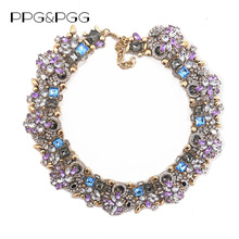 PPG&PGG Fashion Jewelry Women Luxury Rhinestone Collar Purple Crystal Bib Choker Statement Necklaces Pendants(China)