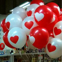 10pcs/lot Red/White Heart Latex Balloons Inflatable Round Air Ball Wedding Happy Birthday Party Balloons Decoration(China)