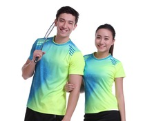 2017 Plus Size Sportswear Quick Dry breathable badminton shirt,Women/Men table tennis Print clothes team game O Neck T Shirts