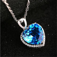 NA373 Delicate Romantic Heart Of The Ocean Blue Crystal Pendants Chain Necklace Women Pure White Choker Necklaces Titanic Style