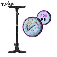Black Premium Floor Bicycle Pump Bike Tire Pump Cycling Presta Tyre Schrader Valve With High Pressure Gauge Bomba De Bicicleta