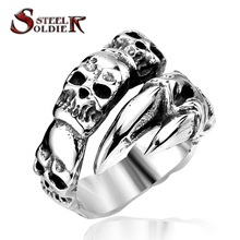 Steel soldier New Open Skull Hand Ring Stainless Steel Man's Fashion Jewelry Biker Punk Jewelry BR8-146 US size