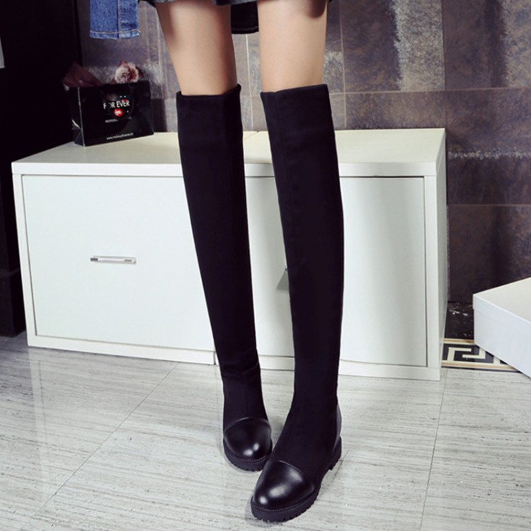 2016 Botas Mujer Big Size 34-43brand Design Patch Color Over The Knee Boots Thick Sole Platform Slim Long Winter Autumn X61-5<br><br>Aliexpress