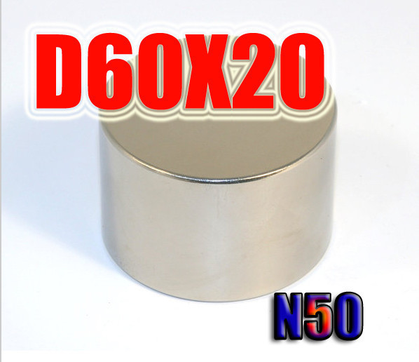 60*20 1pc 60 mm x 20 mm disc powerful magnet craft neodymium rare earth permanent strong N52 n52 60 x 20<br>