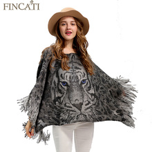 Women Knitted Shawl Cape Fincati 2017 Winter Spring Slash Neck Tiger Eagle Free Size Tassles Fashion Sweater Wrap Swing Design