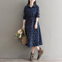 Ladies Autumn and Winter Dress Fall Clothes Women Long Sleeved Navy Blue Floral Corduroy Dresses Female Long A-line Dress(China)