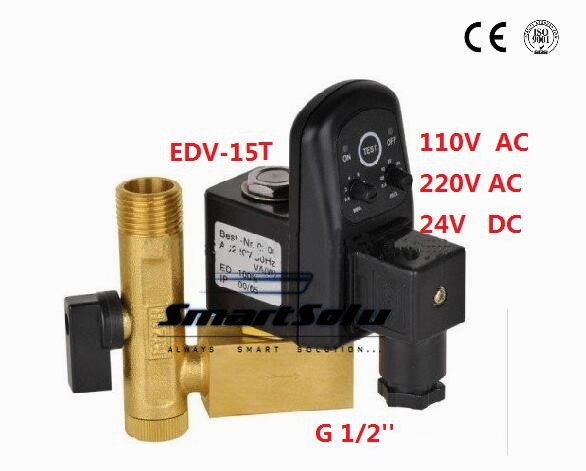 Free Shipping High Quality 5PCS In Lot 1/2 Compressor Auto Drain Digital Timer Valve AC230V Model EDV-15T with Tube a Fitting<br><br>Aliexpress